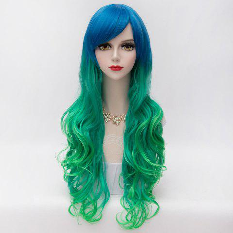 Store Gorgeous Long Side Bang Synthetic Fluffy Wavy Blue Green Gradient Party Wig For Women