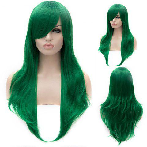 Hot Stunning Green Long layered Synthetic Shaggy Wavy Side Bang Lolita Wig For Women