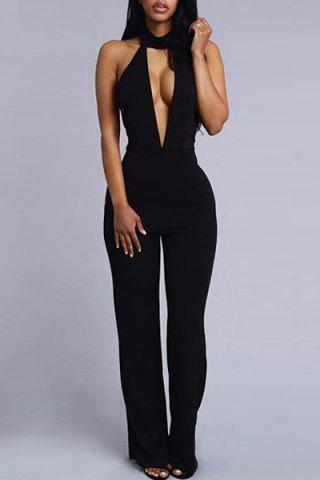 6f34fbe878f Sexy Stand-Up Collar Sleeveless Plunge Black Jumpsuit For Women