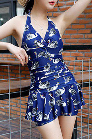 Store Stylish Halter Sleeveless Printed One Piece Swimwear For Women