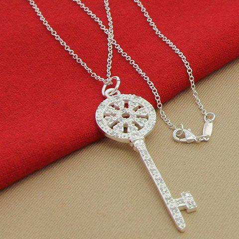 Key Hollow Out Rhinestoned Necklace - Silver - 3xl