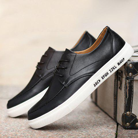 New Trendy PU Leather and Lace-Up Design Formal Shoes For Men - 44 BLACK Mobile