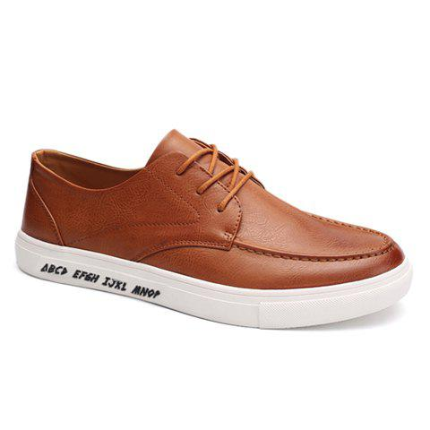 Chic Trendy PU Leather and Lace-Up Design Formal Shoes For Men - 43 BROWN Mobile