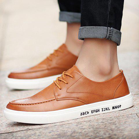 Latest Trendy PU Leather and Lace-Up Design Formal Shoes For Men - 43 BROWN Mobile
