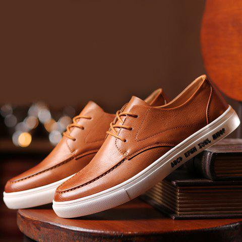 Affordable Trendy PU Leather and Lace-Up Design Formal Shoes For Men - 43 BROWN Mobile