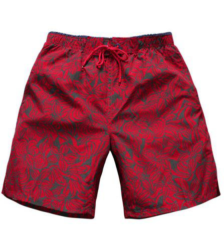 Discount Straight Leg Drawstring Floral Board Shorts - M RED Mobile
