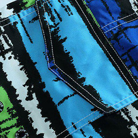 Outfits Straight Leg Drawstring Mix Color Print Patch Pocket Men's Board Shorts - M BLUE Mobile