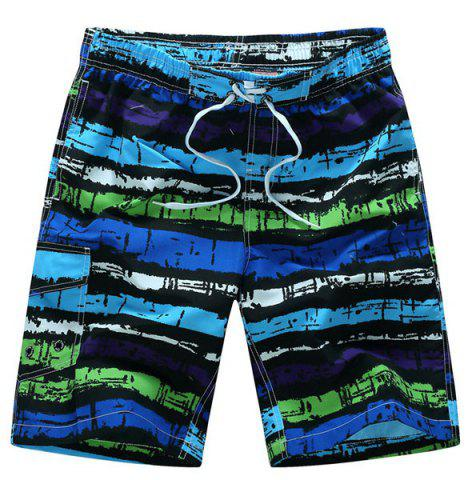 Sale Straight Leg Drawstring Mix Color Print Patch Pocket Men's Board Shorts - XL PURPLE Mobile