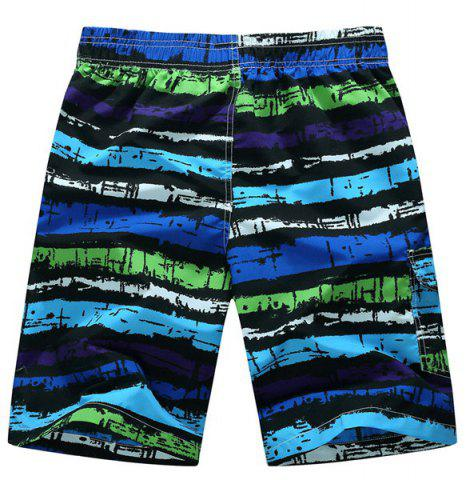 Chic Straight Leg Drawstring Mix Color Print Patch Pocket Men's Board Shorts - XL PURPLE Mobile