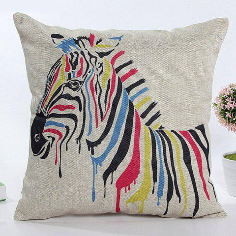 New Square Shape Colorful Cartoon Zebra Pattern Flax Pillow Case(Without Pillow Inner)
