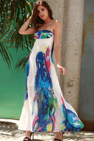 Bandeau Maxi Strapless Print Swing Beach Boho Dress - Blue - S