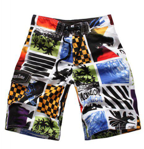 New Straight Leg Drawstring Color Block Splicing Letters Print Men's Board Shorts