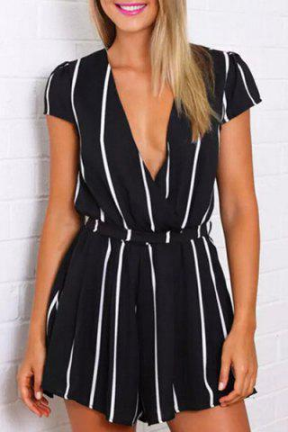 Deep V Neck Short Sleeve Vertical Stripes Romper