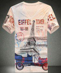 V-Neck Eiffel Tower Pattern Letters Print Short Sleeve Men's T-Shirt -