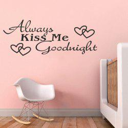 Quality Black Letter Heart Pattern Removeable Wall Stickers - BLACK