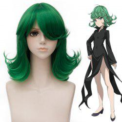 Shaggy Wavy Synthetic Stunning Medium Green Side Bang Tatsumaki Cosplay Wig - GREEN