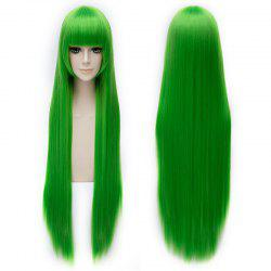 Trendy Silky Straight 100CM Extra Long Synthetic Green Full Bang Code Geass Cosplay Wig