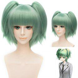 Sweet Short With Bunches Full Bang Fluffy Straight Synthetic Green Kayano Kaede Cosplay Wig