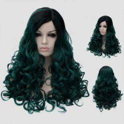 Gorgeous Long Fluffy Curly Black Ombre Blackish Green Synthetic Party Wig For Women