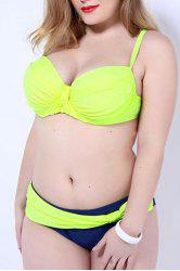 Chic Spaghetti Strap Hit Color Plus Size Women's Bikini Set