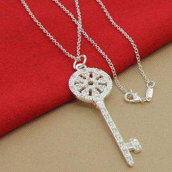Key Hollow Out Rhinestoned Necklace -
