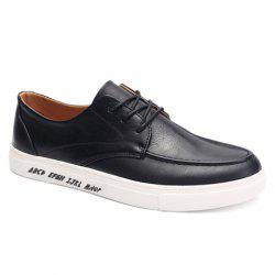 Trendy PU Leather and Lace-Up Design Formal Shoes For Men - BLACK
