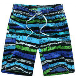 Straight Leg Drawstring Mix Color Print Patch Pocket Men's Board Shorts -