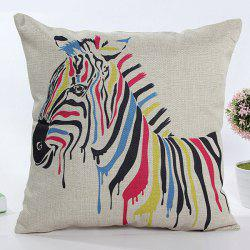Square Shape Colorful Cartoon Zebra Pattern Flax Pillow Case(Without Pillow Inner) -