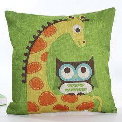 Square Shape Colorful Cartoon Owl and Giraffe Pattern Printed Flax Pillow Case ( Without Pillow Inner )