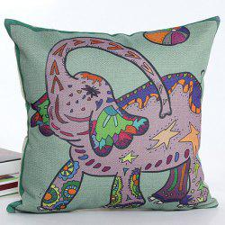 Colorful Cartoon Elephant Pattern Printed Square Shape Flax Pillow Case(Without Pillow Inner) -