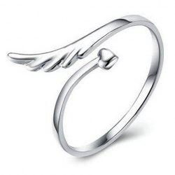 Heart Wing Cuff Ring - SILVER