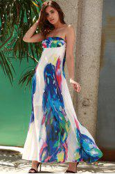 Maxi Strapless Print Swing Beach Boho Dress - BLUE