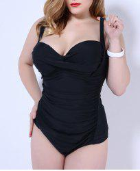 Spaghetti Strap Plus Size Padded One-Piece Bathing Suit -