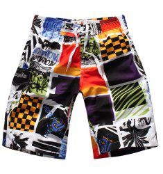 Straight Leg Elastic Waist Color Block Splicing Letters Print Men's Board Shorts -