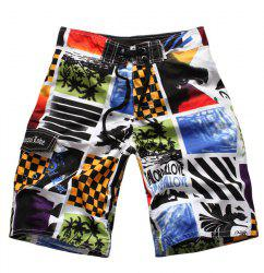 Straight Leg Drawstring Color Block Splicing Letters Print Men's Board Shorts -