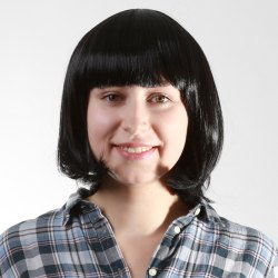 Fashion Short Straight Black Bob Style Neat Bang Capless Heat Resistant Synthetic Women's Wig