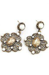 Pair of Retro Faux Pearl Hollow Out Flower Earrings