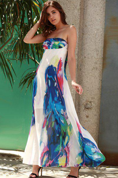 Bandeau Maxi Strapless Print Swing Beach Boho DressWOMEN<br><br>Size: M; Color: BLUE; Style: Sexy &amp; Club; Material: Polyester; Silhouette: A-Line; Dresses Length: Floor-Length; Neckline: Strapless; Sleeve Length: Sleeveless; Pattern Type: Floral; With Belt: No; Season: Summer; Weight: 0.290kg; Package Contents: 1 x Dress;