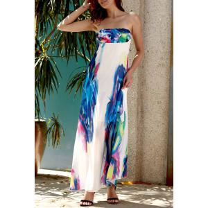 Strapless Swing Ankle Length Floral Maxi Dress -