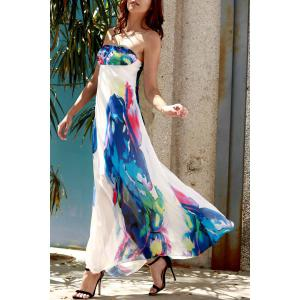 Strapless Swing Ankle Length Floral Maxi Dress - Purplish Blue - S