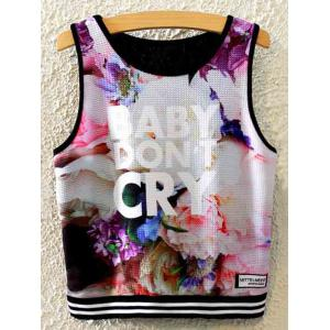 Stylish Round Neck Floral Print Women's Tank Top