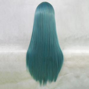 Attractive Long Side Bang Synthetic Silky Straight Blackish Green Cosplay Wig For Women -