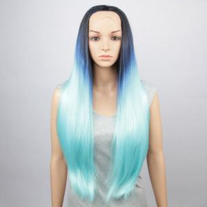 Trendy Three Colors Gradient Natural Straight Long Synthetic Lace Front Wig For Women - Colormix - L