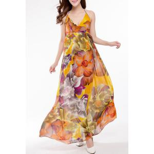 Sweet Halter Colorful Floral Printed High Waist Maxi Dress For Women -