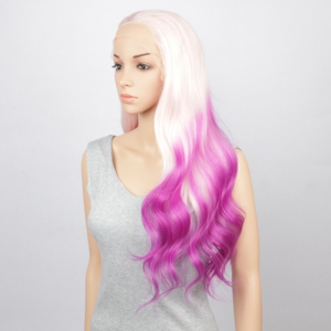 Fashion White Purple Gradient Long Fluffy Wavy Synthetic Lace Front Wig For Women -