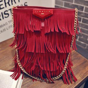 Stylish Fringe and PU Leather Design Shoulder Bag For Women -