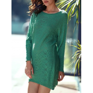 Scoop Neck Long Sleeve Slouchy Jumper Dress