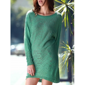 Scoop Neck Long Sleeve Slouchy Jumper Dress - GREEN ONE SIZE(FIT SIZE XS TO M)