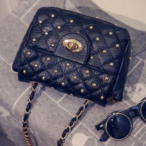 Trendy Rivets and PU Leather Design Crossbody Bag For Women -
