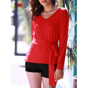 Women's Stylish Red Long Sleeve V Neck Lace-Up Blouse - RED S